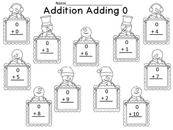 Snowman Addition Adding 0 FREEBIE