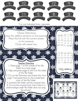 Snowman Addition: Adding On (Fact Family Three)
