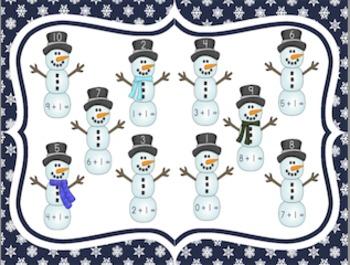 Snowman Addition BUNDLED File Folder Activities: Adding On