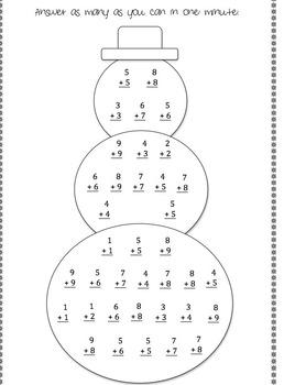Snowman Addition - Doubles & Doubles Plus One