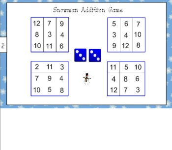 Snowman Addition Game for Smart Board