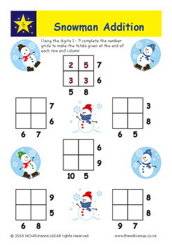 Snowman Addition Grids