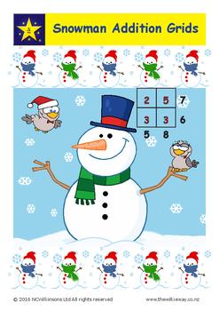 Snowman Addition Grids