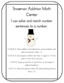 Snowman Addition - Math Center