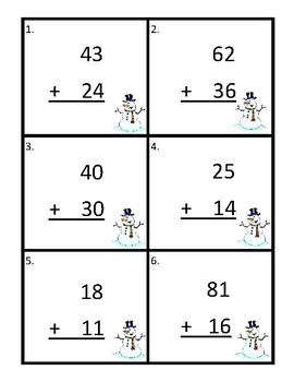 Snowman Addition Scoot to 100 Without Regrouping