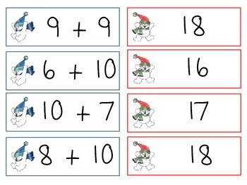 Snowman Addition: Sums to 12-18