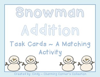 Snowman Addition Task Card/Matching Game