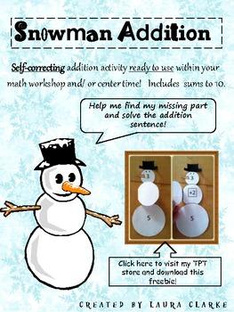 Snowman Addition: Winter Themed Math Center