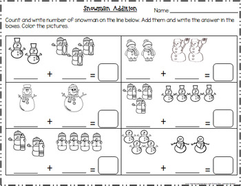 Snowman Addition Worksheets----with pictures(adding within 10)