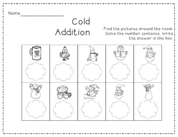 Snowman Addition Write the Room
