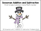 Snowman Addition and Subtraction Center Game