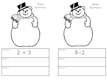 Snowman Addition and Subtraction Booklet-to 10