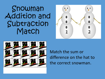 Snowman Addition and Subtraction Facts - Math Center