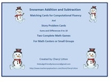 Snowman Addition and Subtraction Matching Cards and Problem Solving Cards