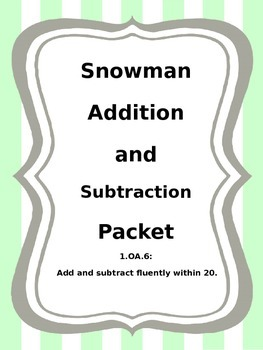 Snowman Addition and Subtraction within 20 Sort 1.0A.6