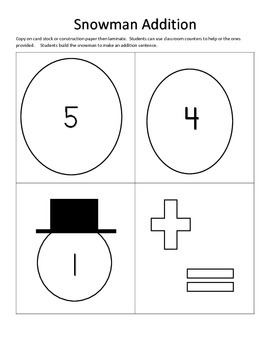 Snowman Addition facts to 5, math centers, math games, math activities