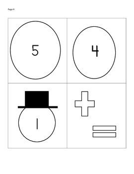 Snowman Addition facts to 5, math centers, math games, math activities
