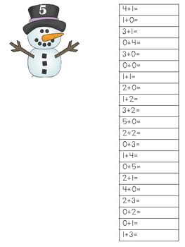 Snowman Addition to summs of 5 student booklet