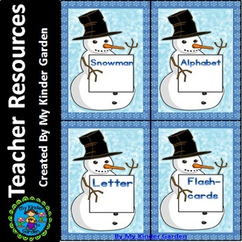 Snowman Alphabet Letter Flashcards Uppercase and Lowercase