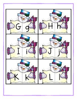 Snowman Alphabet Matching Game
