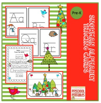 Snowman Alphabet Tracing Cards