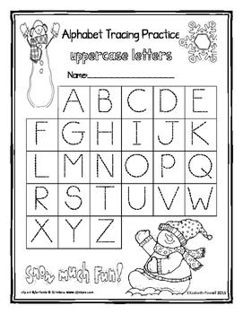 Snowman Alphabet Tracing Worksheets