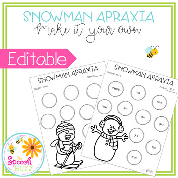 Snowman Apraxia EDITABLE
