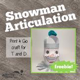Snowman Articulation FREEBIE! No Prep, No Mess Craftivity