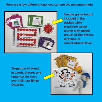 Snowman Articulation Games and Activities for /s/ and /s/-Blends