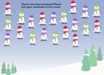 Snowman Attendance Smartboard File