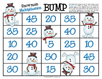 Snowman BUMP -- Multiplication & Division Fact Fluency Games