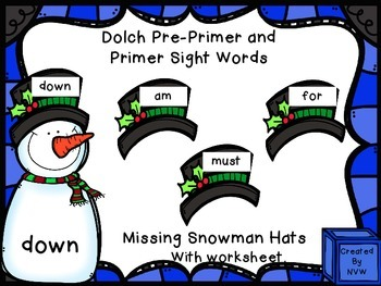 Snowman BUNDLE Dolch Sight Words, Numbers, and Colors