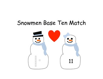 Snowman Base Ten Number Match- Common Core Aligned