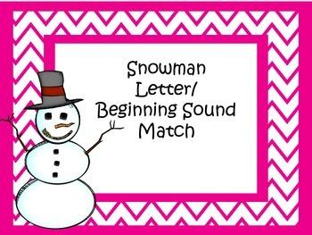 Snowman Beginning Sound & Letter Match
