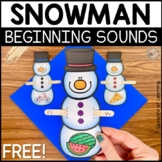 Snowman Beginning Sounds FREEBIE