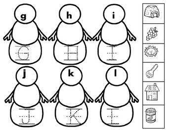 Snowman Beginning Sounds and Tracing