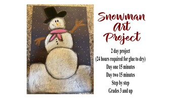 Snowman Black paper glue art project activity holiday christmas