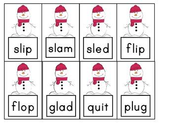 Snowman Blending Game- CVC & CCVC