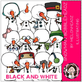 Snowman clip art - Bobbleheadz - BLACK AND WHITE- by Melonheadz