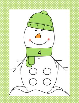 Snowman Button Counting Center 1-10