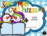 Snowman CVC Puzzles Winter #dollardays Kindergarten File Folder Game Center
