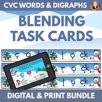 Snowman CVC Word Blending Bundle with Digital Boom Cards