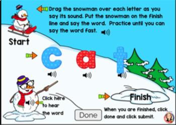 Snowman CVC Word Blending Bundle with Digital Boom Cards