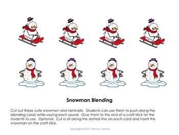 Snowman CVC Word Blending Task Cards