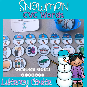 Snowman CVC Word Center Activities and Worksheets