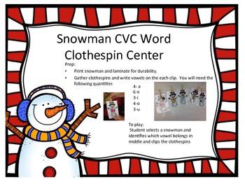 Snowman CVC Word Clothespin Center