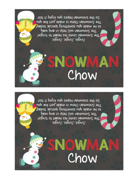 Snowman Chow Treat Bag Toppers