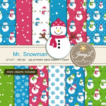Snowman Christmas Digital Papers & Clipart