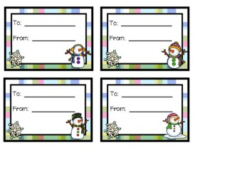 Snowman Christmas Ornament Tag for Parent Gift - Freebie