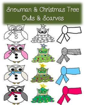 Snowman & Christmas Tree Owls & Scarves